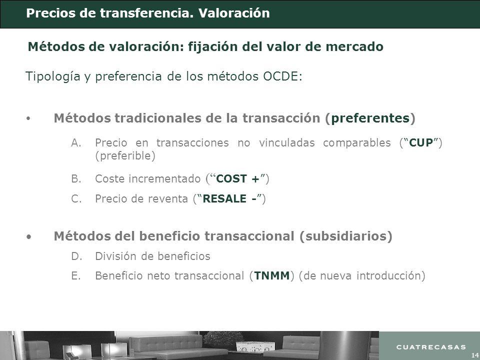 14 Métodos de valoración: fijación del valor de mercado Métodos tradicionales de la transacción (preferentes) Métodos del beneficio transaccional (sub