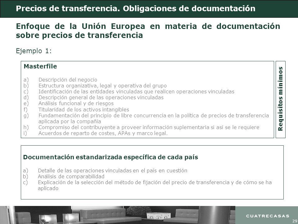 29 Masterfile a)Descripción del negocio b)Estructura organizativa, legal y operativa del grupo c)Identificación de las entidades vinculadas que realic