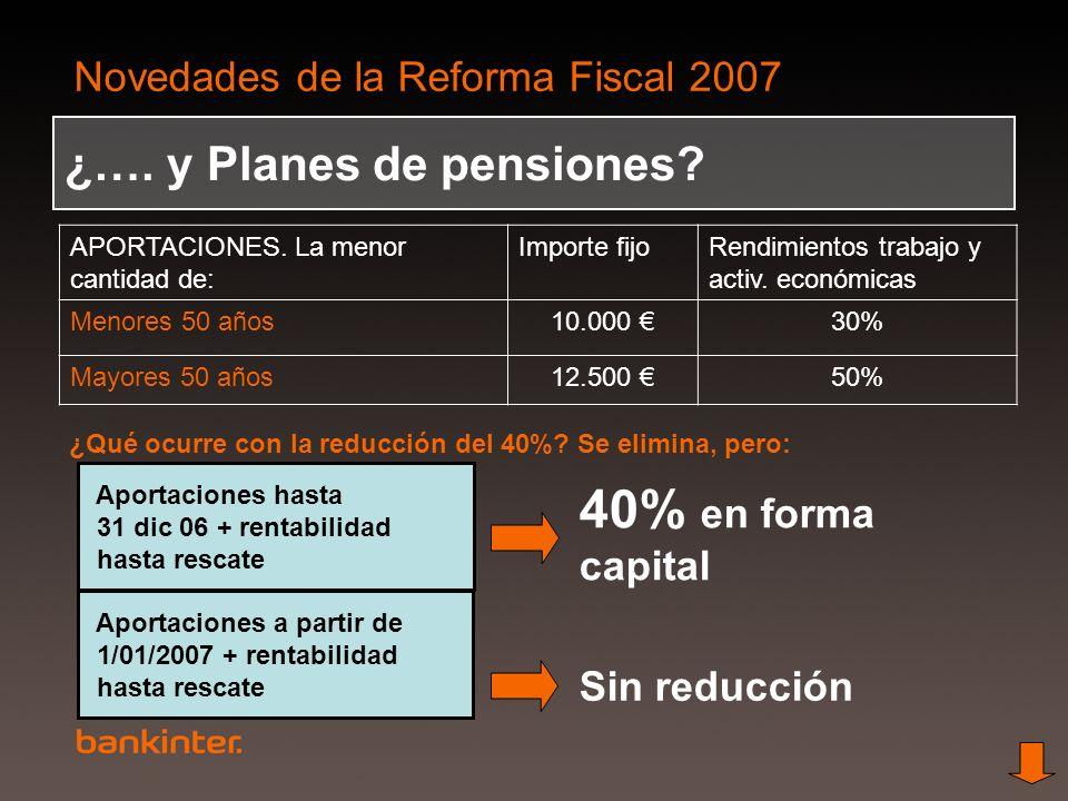 Novedades de la Reforma Fiscal 2007 ¿…. y Planes de pensiones? APORTACIONES. La menor cantidad de: Importe fijoRendimientos trabajo y activ. económica