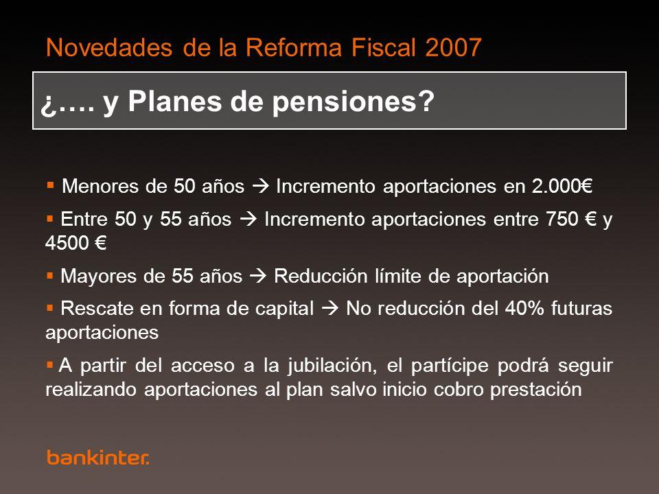 Novedades de la Reforma Fiscal 2007 ¿…. y Planes de pensiones? Menores de 50 años Incremento aportaciones en 2.000 Entre 50 y 55 años Incremento aport