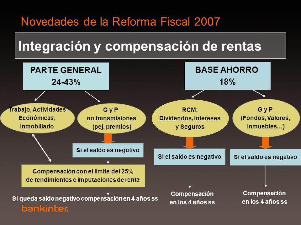 Novedades de la Reforma Fiscal 2007 RCM: Dividendos, intereses y Seguros Si el saldo es negativo Compensación en los 4 años ss G y P (Fondos, Valores,