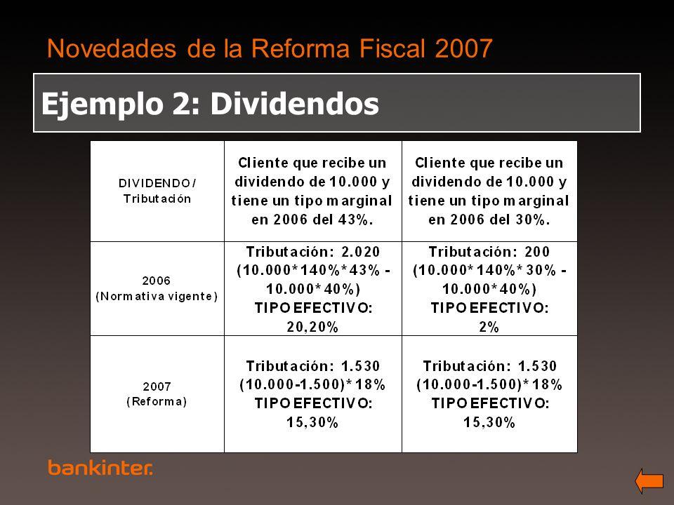 Novedades de la Reforma Fiscal 2007 Ejemplo 2: Dividendos