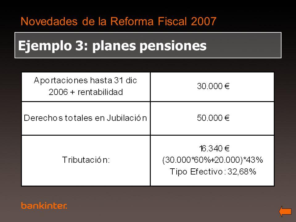 Novedades de la Reforma Fiscal 2007 Ejemplo 3: planes pensiones