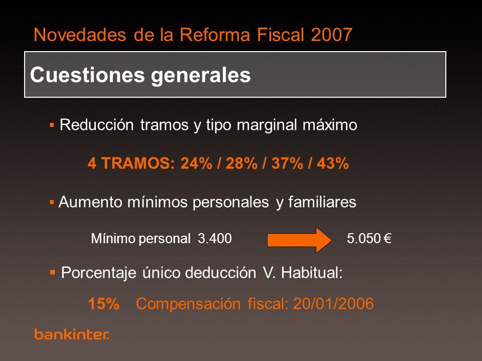 Novedades de la Reforma Fiscal 2007 Cuestiones generales Reducción tramos y tipo marginal máximo 4 TRAMOS: 24% / 28% / 37% / 43% Aumento mínimos perso