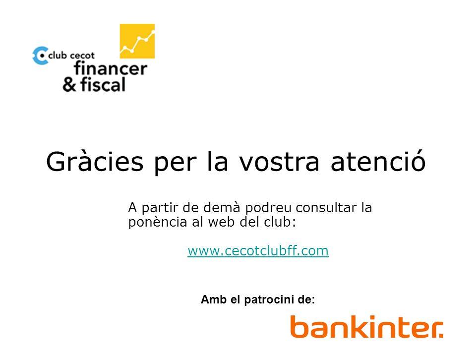 Novedades de la Reforma Fiscal 2007 Gràcies per la vostra assistència A partir de demà podreu consultar la ponència al web del club: www.cecotclubff.c