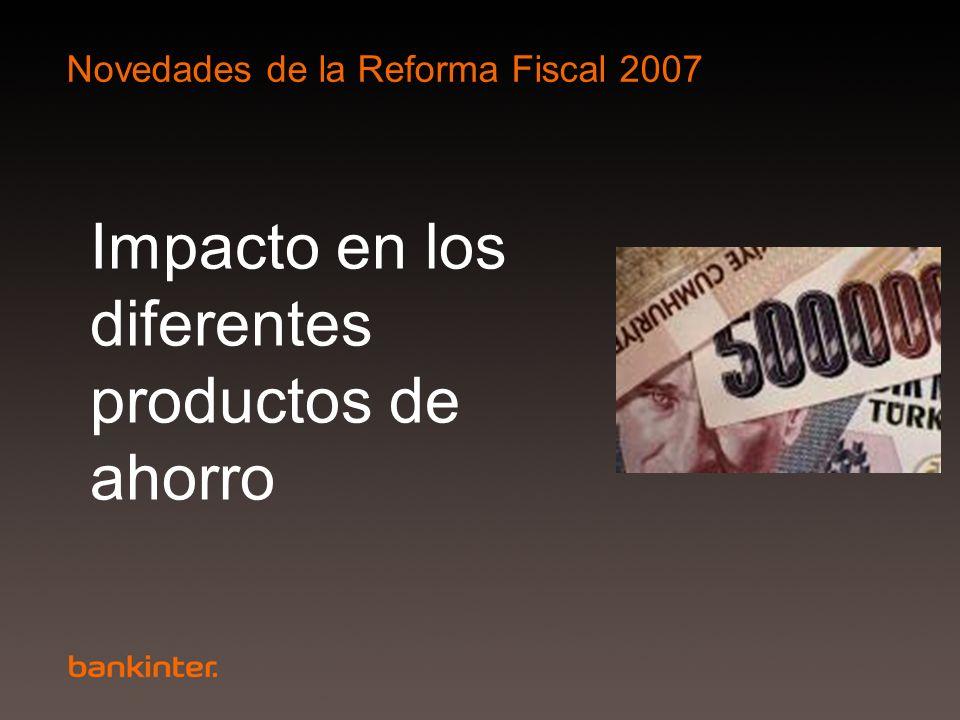Novedades de la Reforma Fiscal 2007 Impacto en los diferentes productos de ahorro