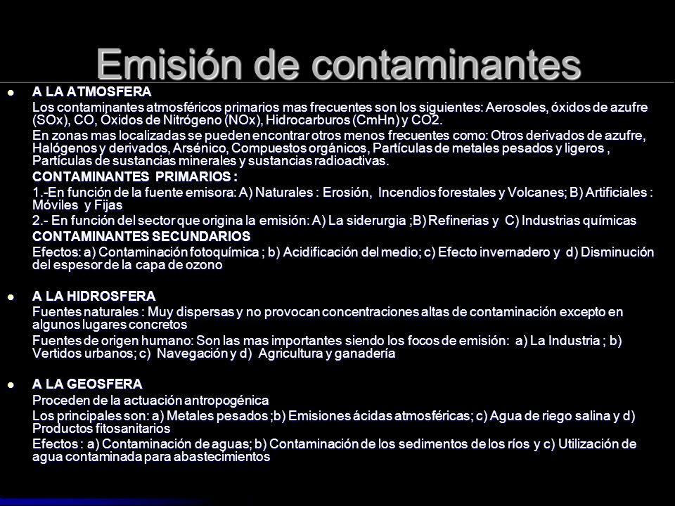 Emisión de contaminantes A LA ATMOSFERA A LA ATMOSFERA Los contaminantes atmosféricos primarios mas frecuentes son los siguientes: Aerosoles, óxidos d