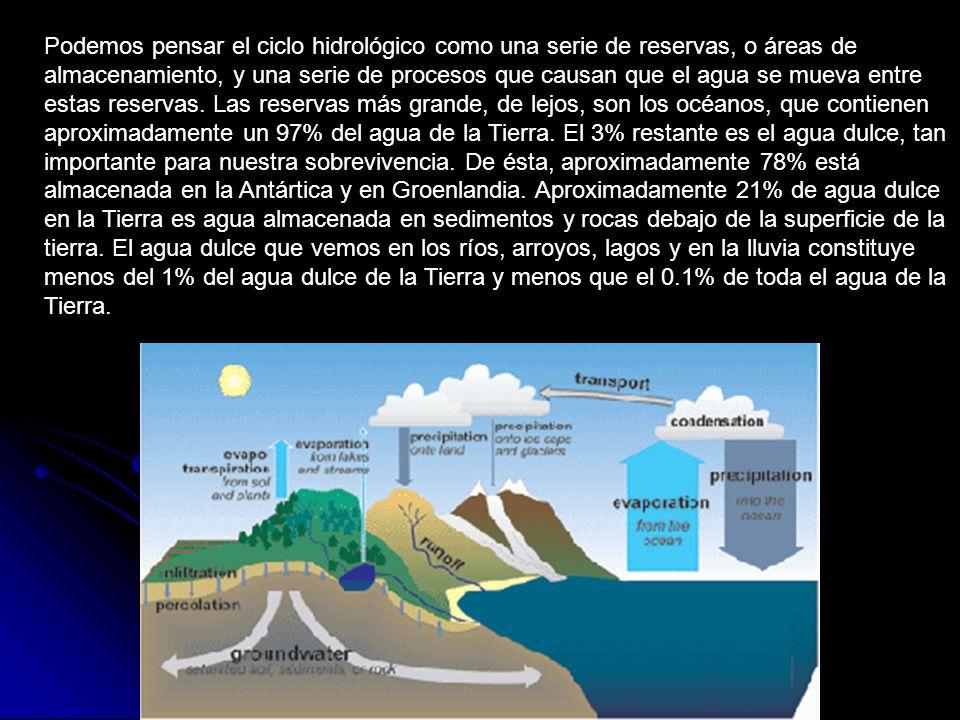 Podemos pensar el ciclo hidrológico como una serie de reservas, o áreas de almacenamiento, y una serie de procesos que causan que el agua se mueva ent
