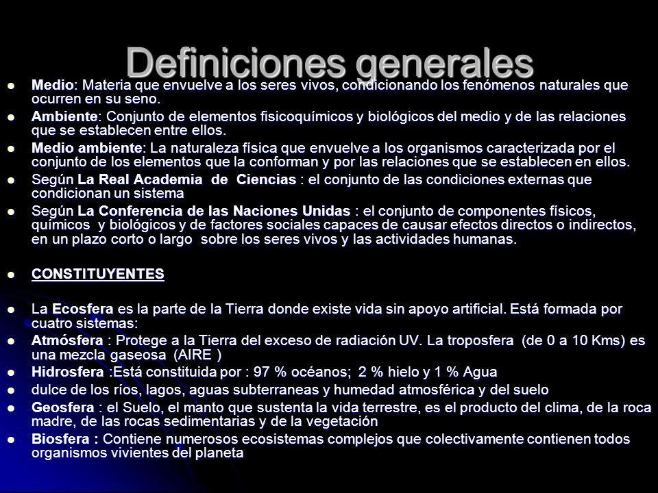 Definiciones generales Medio: Materia que envuelve a los seres vivos, condicionando los fenómenos naturales que ocurren en su seno. Medio: Materia que