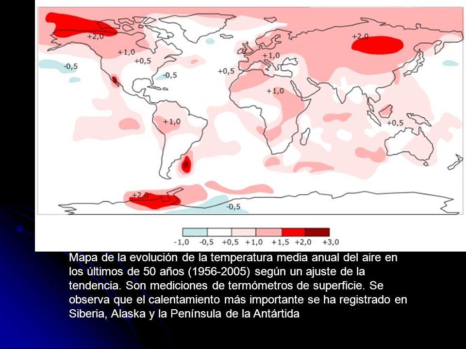 Mapa de la evolución de la temperatura media anual del aire en los últimos de 50 años (1956-2005) según un ajuste de la tendencia. Son mediciones de t