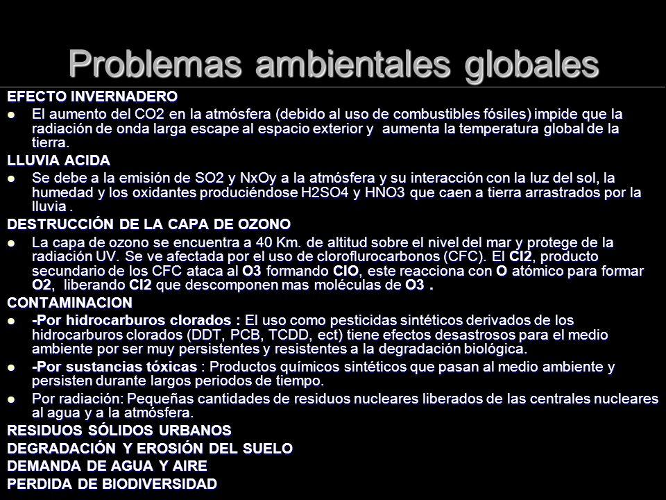 Problemas ambientales globales EFECTO INVERNADERO El aumento del CO2 en la atmósfera (debido al uso de combustibles fósiles) impide que la radiación d