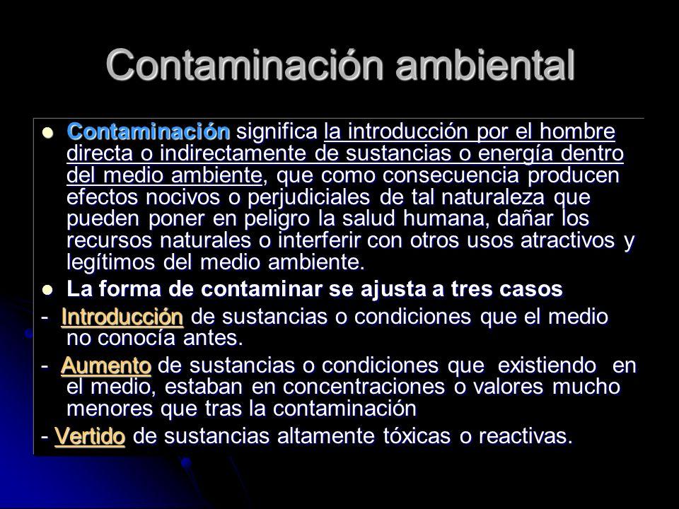 Contaminación ambiental Contaminación significa la introducción por el hombre directa o indirectamente de sustancias o energía dentro del medio ambien