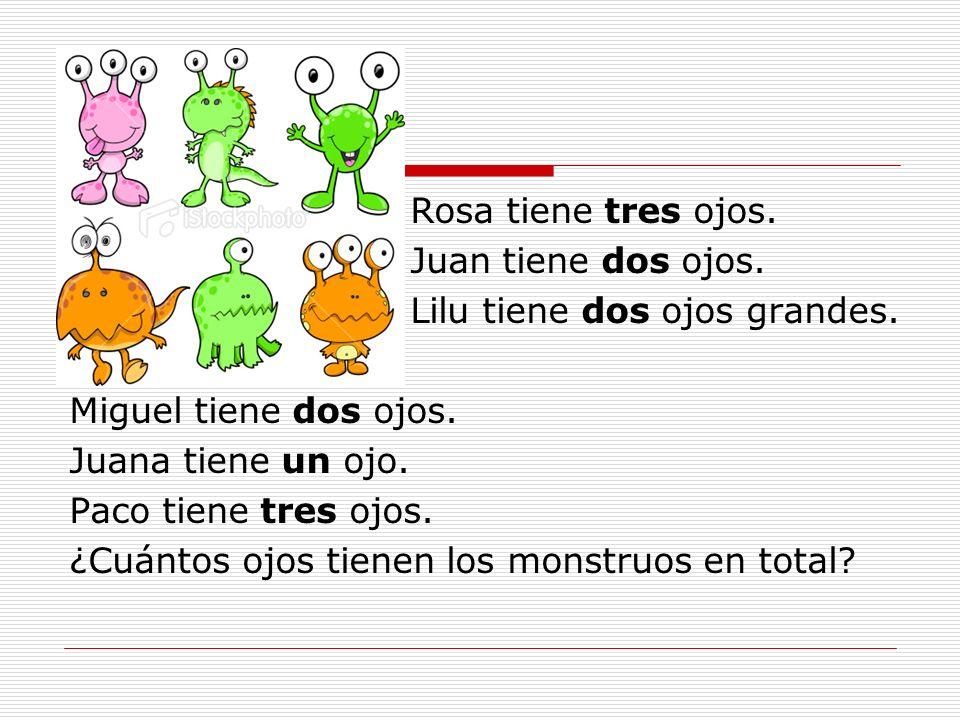 Escriba la respuesta en números y en español. 1) 2+4=6 2)Dos más cuatro son seis.