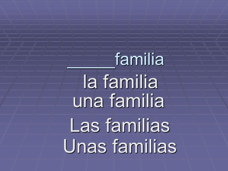 _____familia la familia la familia una familia una familia Las familias Unas familias