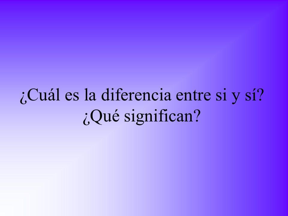 ¿Cuál es la diferencia entre si y sí? ¿Qué significan?