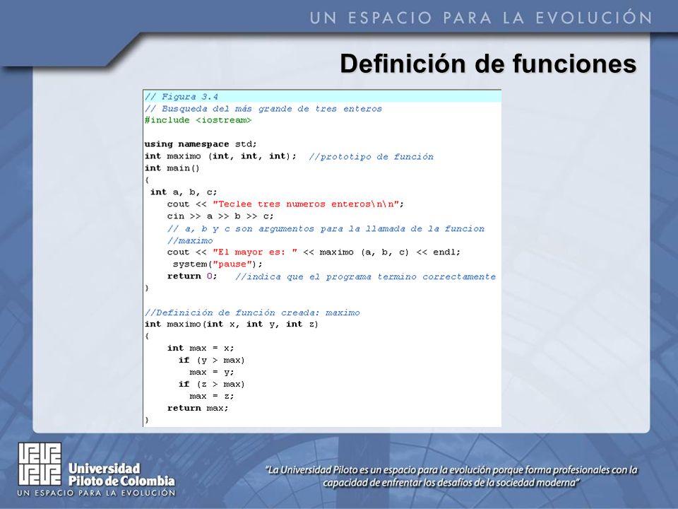 Prototipos de función Un prototipo de función le dice al compilador el nombre de la función, el tipo de datos que ésta devuelve, el número, tipo y orden de los parámetros que dicha función espera recibir.