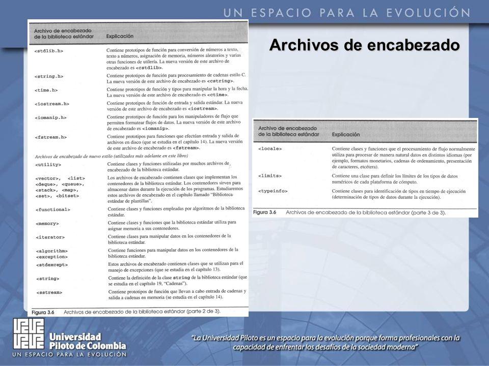 Cada biblioteca estándar tiene un archivo de encabezado correspondiente que contiene los prototipos de todas las funciones de dicha biblioteca y las definiciones de varios tipos de datos y constantes necesarios para tales funciones.