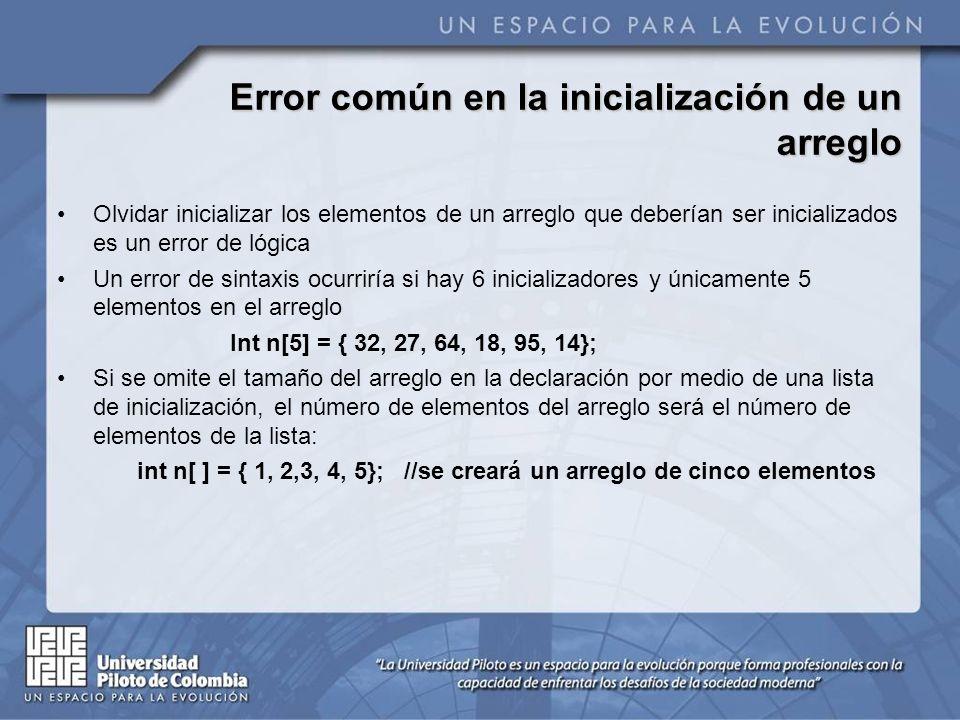 Error común en la inicialización de un arreglo Olvidar inicializar los elementos de un arreglo que deberían ser inicializados es un error de lógica Un