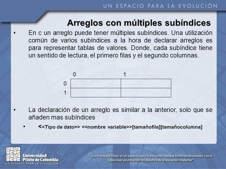 Arreglos con múltiples subíndices En c un arreglo puede tener múltiples subíndices. Una utilización común de varios subíndices a la hora de declarar a
