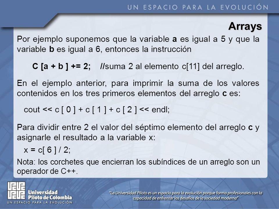 Arrays Por ejemplo suponemos que la variable a es igual a 5 y que la variable b es igual a 6, entonces la instrucción C [a + b ] += 2; //suma 2 al ele