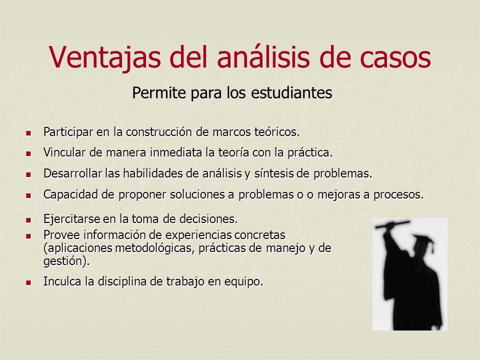 Ventajas del análisis de casos Ejercitarse en la toma de decisiones.