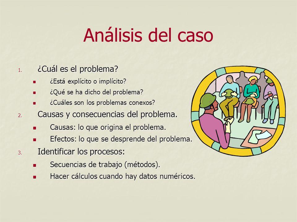 Análisis del caso 1.¿Cuál es el problema. ¿Está explícito o implícito.