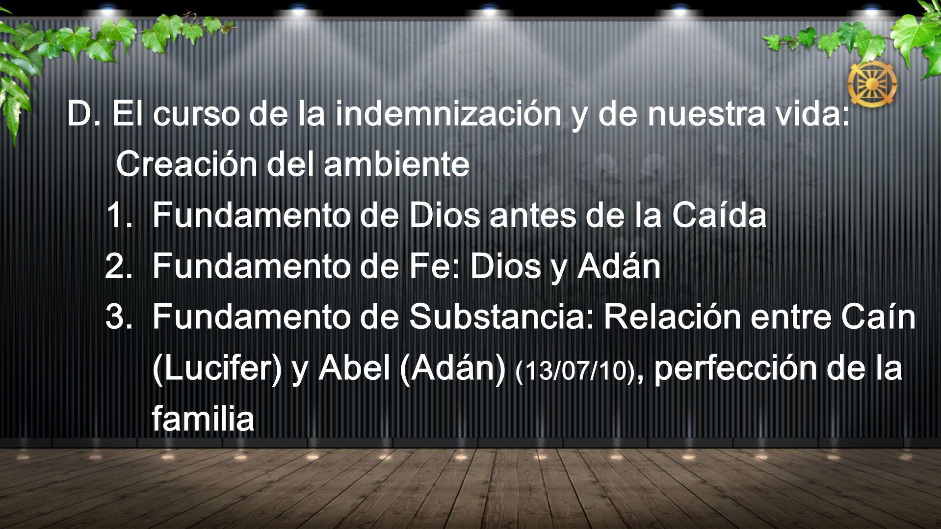 D. El curso de la indemnización y de nuestra vida: Creación del ambiente 1. Fundamento de Dios antes de la Caída 2. Fundamento de Fe: Dios y Adán 3. F
