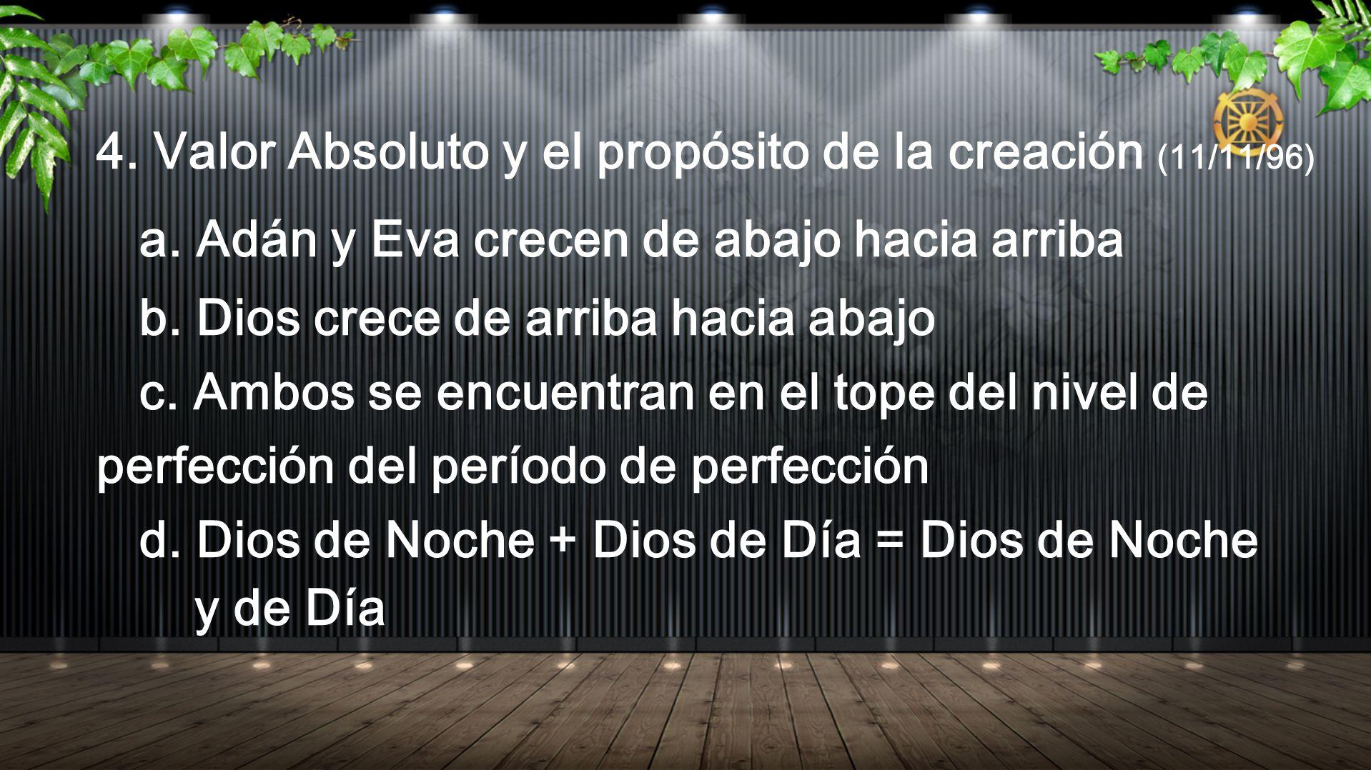 4. Valor Absoluto y el propósito de la creación (11/11/96) a. Adán y Eva crecen de abajo hacia arriba b. Dios crece de arriba hacia abajo c. Ambos se