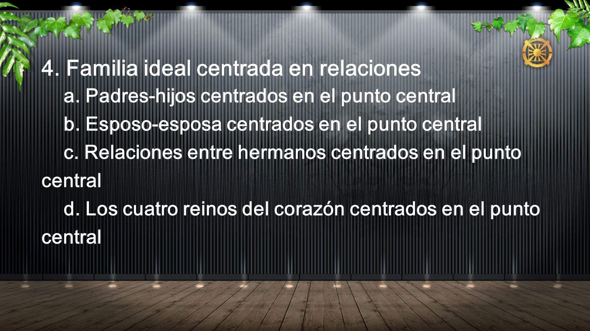 4. Familia ideal centrada en relaciones a. Padres-hijos centrados en el punto central b. Esposo-esposa centrados en el punto central c. Relaciones ent