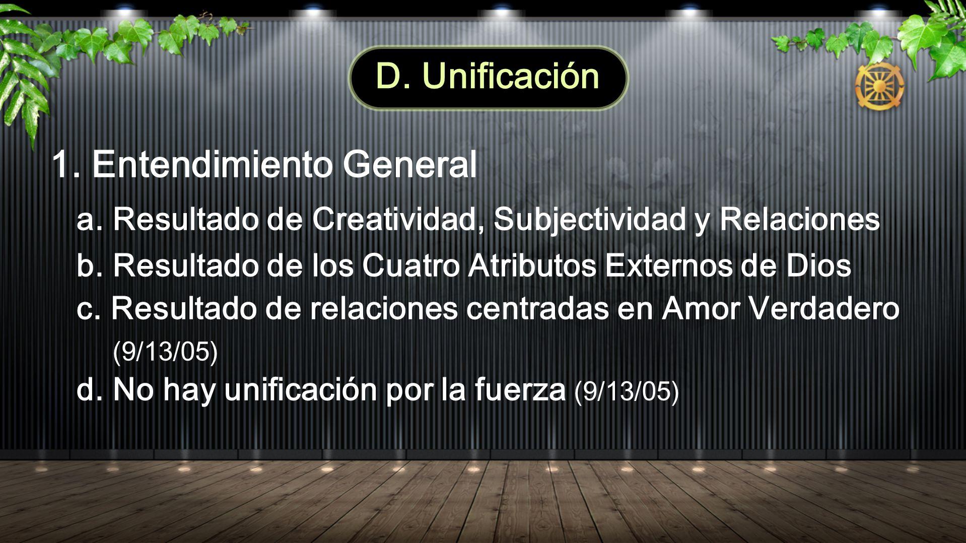 D. Unificación 1. Entendimiento General a. Resultado de Creatividad, Subjectividad y Relaciones b. Resultado de los Cuatro Atributos Externos de Dios