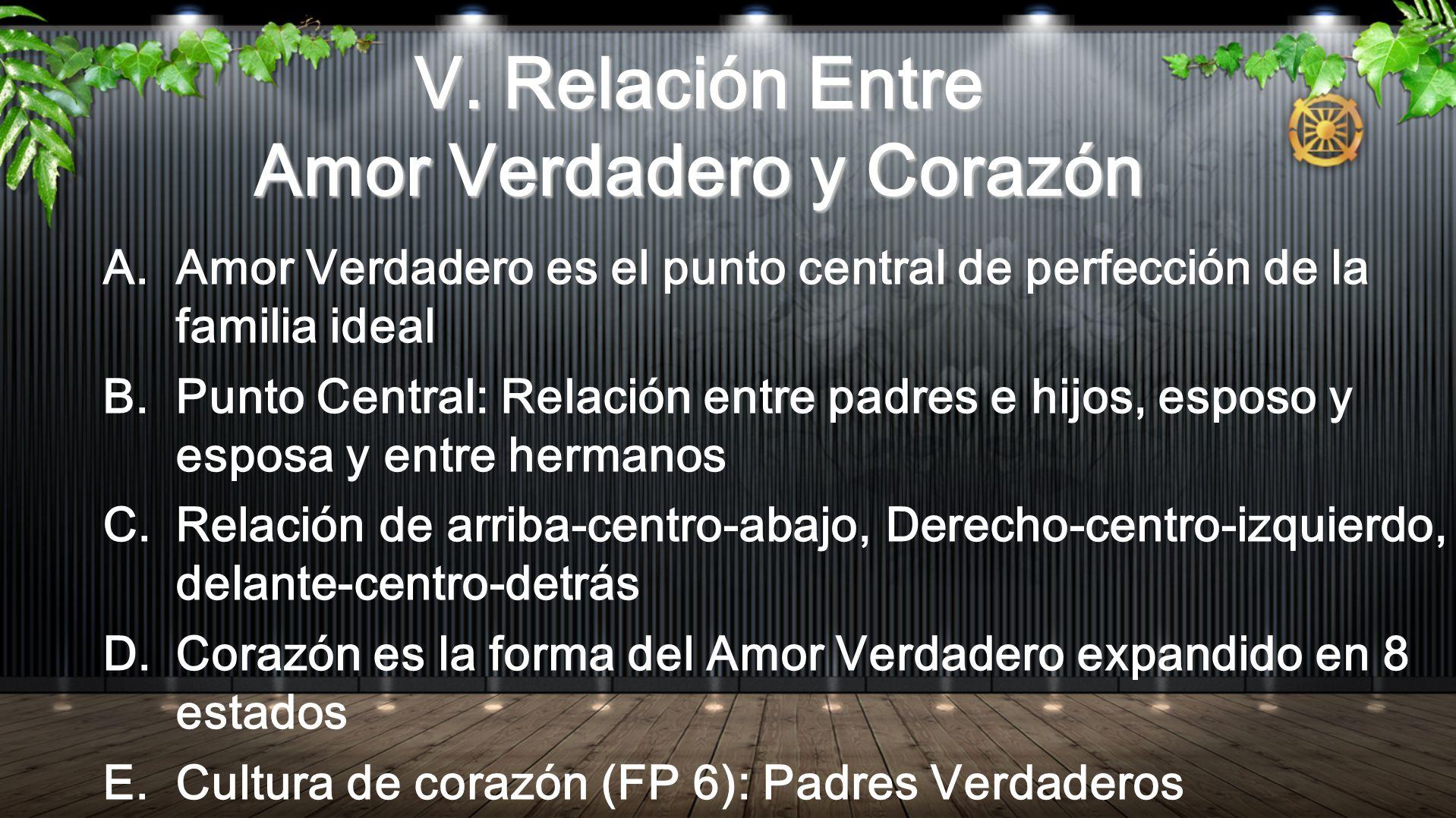 V. Relación Entre Amor Verdadero y Corazón A.Amor Verdadero es el punto central de perfección de la familia ideal B.Punto Central: Relación entre padr