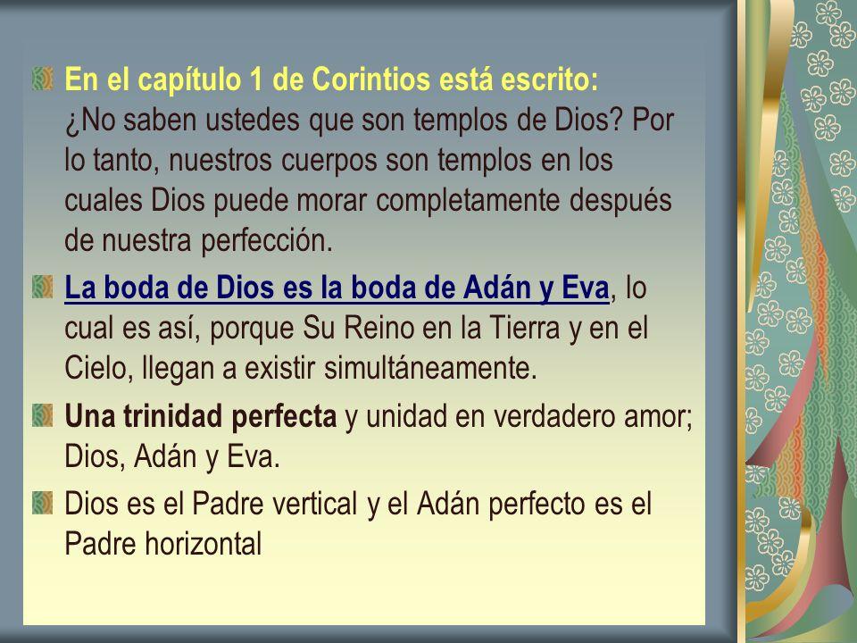 En el capítulo 1 de Corintios está escrito: ¿No saben ustedes que son templos de Dios? Por lo tanto, nuestros cuerpos son templos en los cuales Dios p