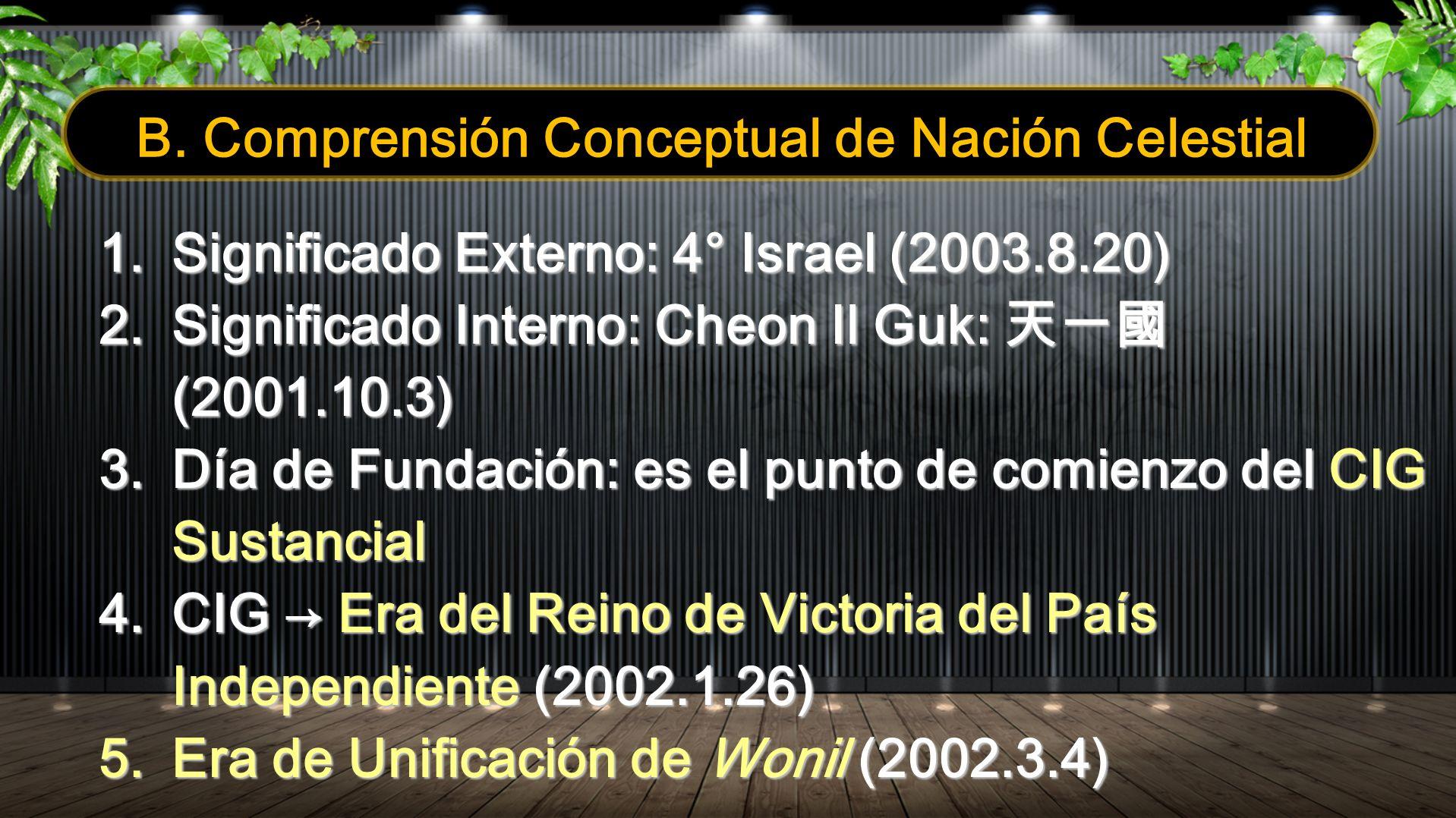 1.Significado Externo: 4° Israel (2003.8.20) 2.Significado Interno: Cheon Il Guk: (2001.10.3) 3.Día de Fundación: es el punto de comienzo del CIG Sust
