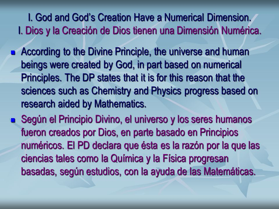 I. God and Gods Creation Have a Numerical Dimension.