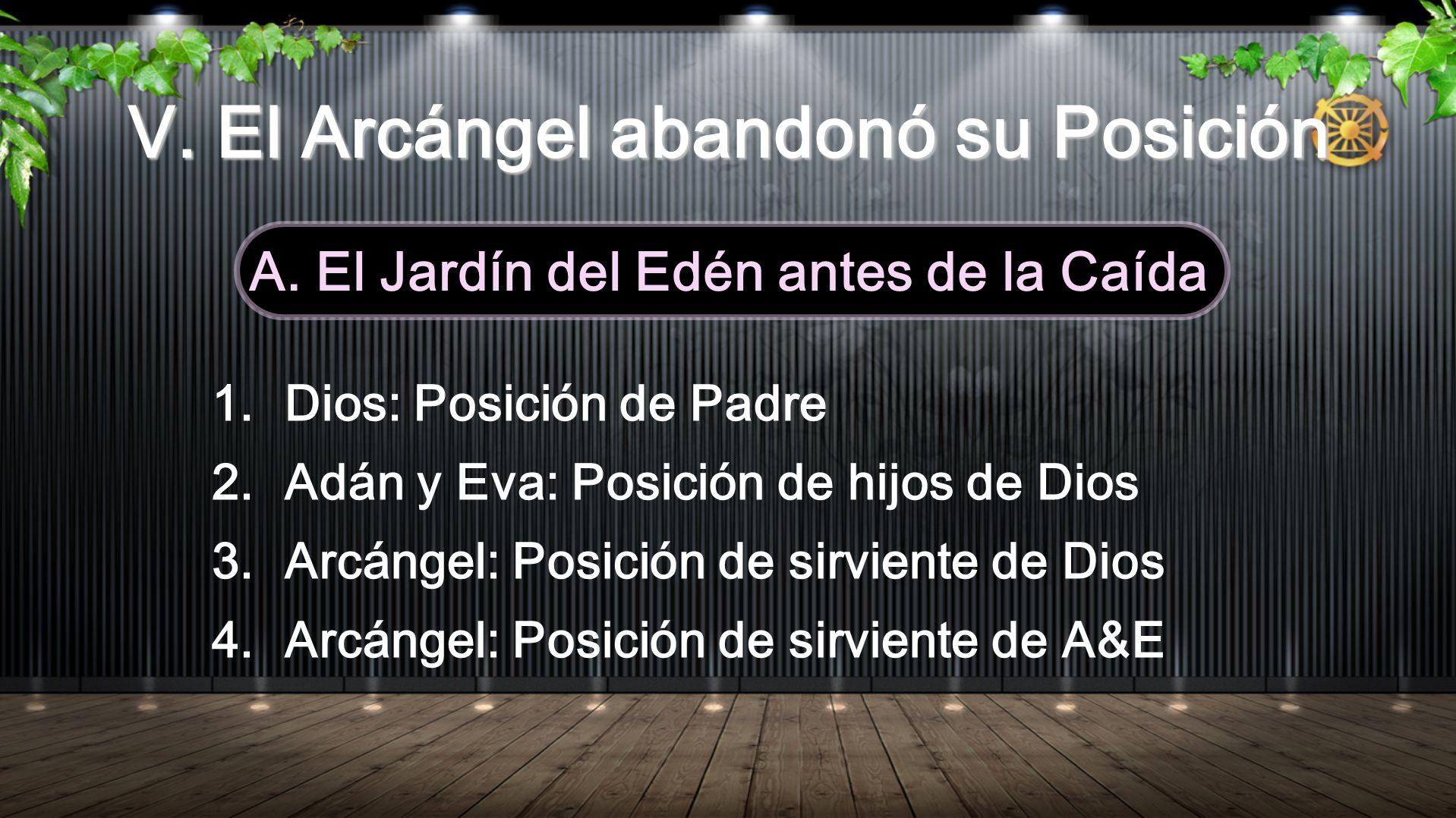 V. El Arcángel abandonó su Posición A. El Jardín del Edén antes de la Caída 1.Dios: Posición de Padre 2.Adán y Eva: Posición de hijos de Dios 3.Arcáng