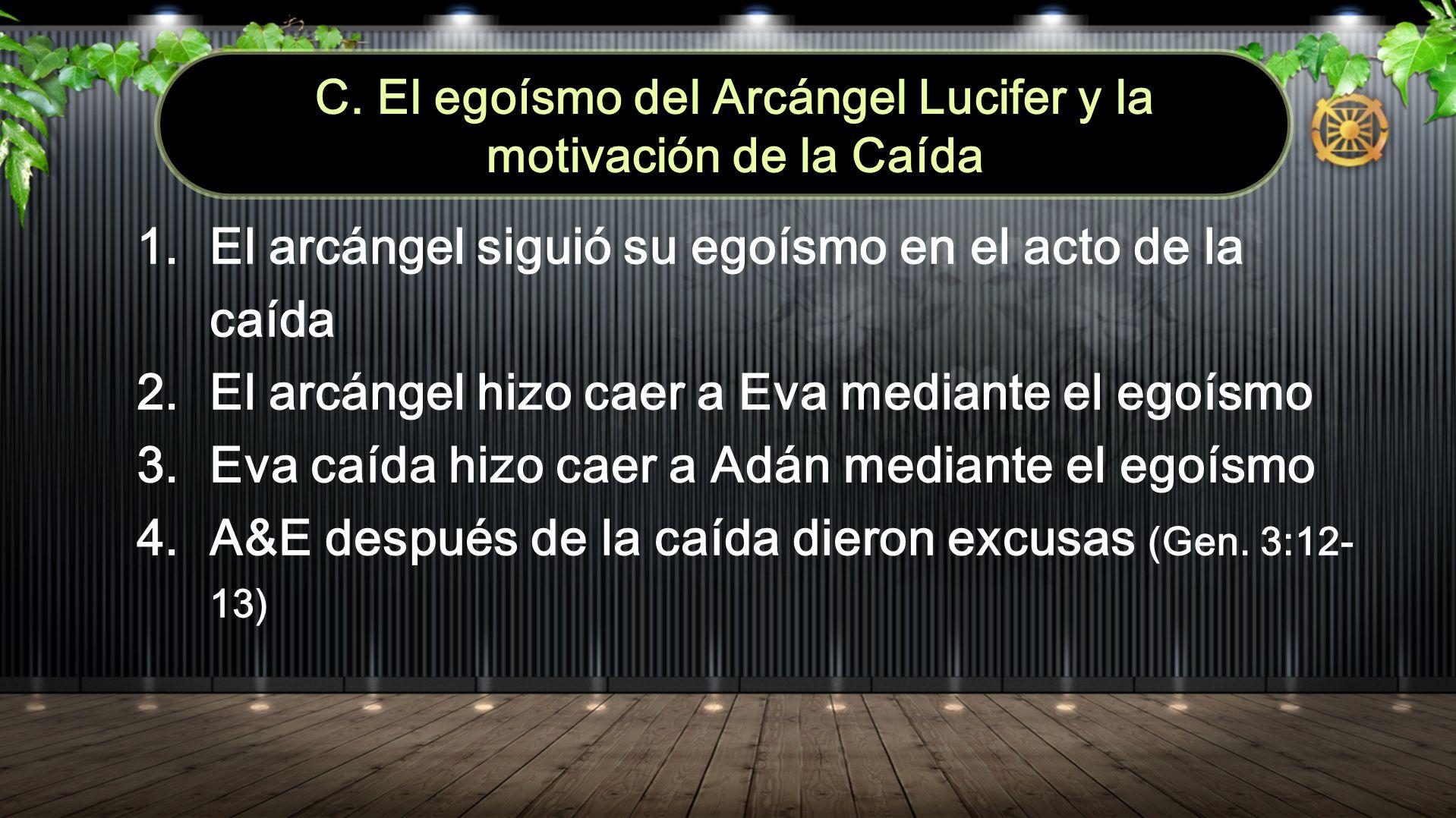 C. El egoísmo del Arcángel Lucifer y la motivación de la Caída 1. El arcángel siguió su egoísmo en el acto de la caída 2. El arcángel hizo caer a Eva