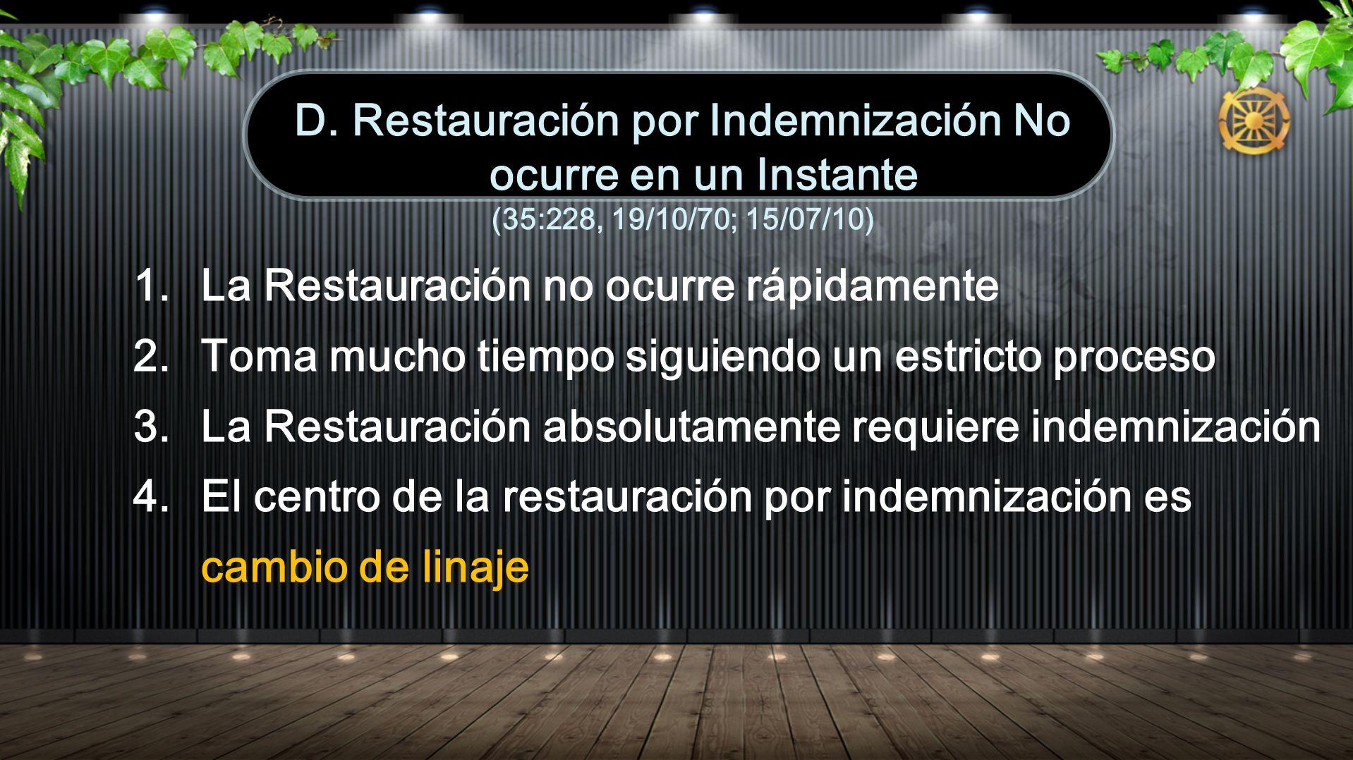 1. La Restauración no ocurre rápidamente 2. Toma mucho tiempo siguiendo un estricto proceso 3. La Restauración absolutamente requiere indemnización 4.