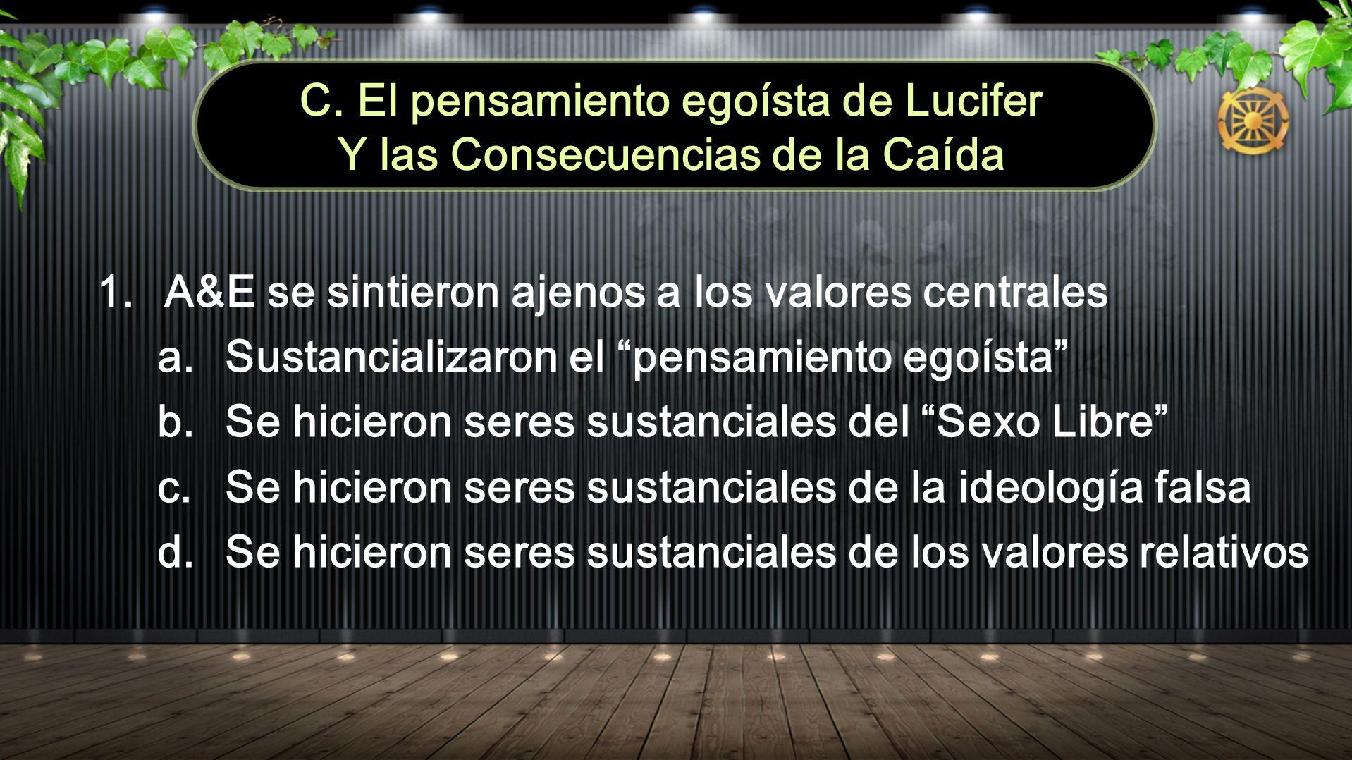 C. El pensamiento egoísta de Lucifer Y las Consecuencias de la Caída 1.A&E se sintieron ajenos a los valores centrales a.Sustancializaron el pensamien