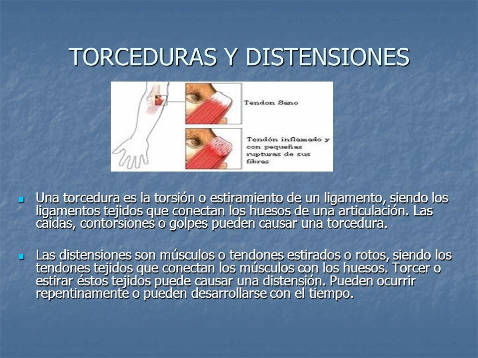 SINTOMAS DE LAS TORCEDURAS Y DISTENSIONES Los síntomas de una torcedura son: Los síntomas de una torcedura son: -Causa dolor -Causa dolor -Hematomas -Hematomas -Inflamación -Inflamación -Incapacidad para mover los músculos implicados.