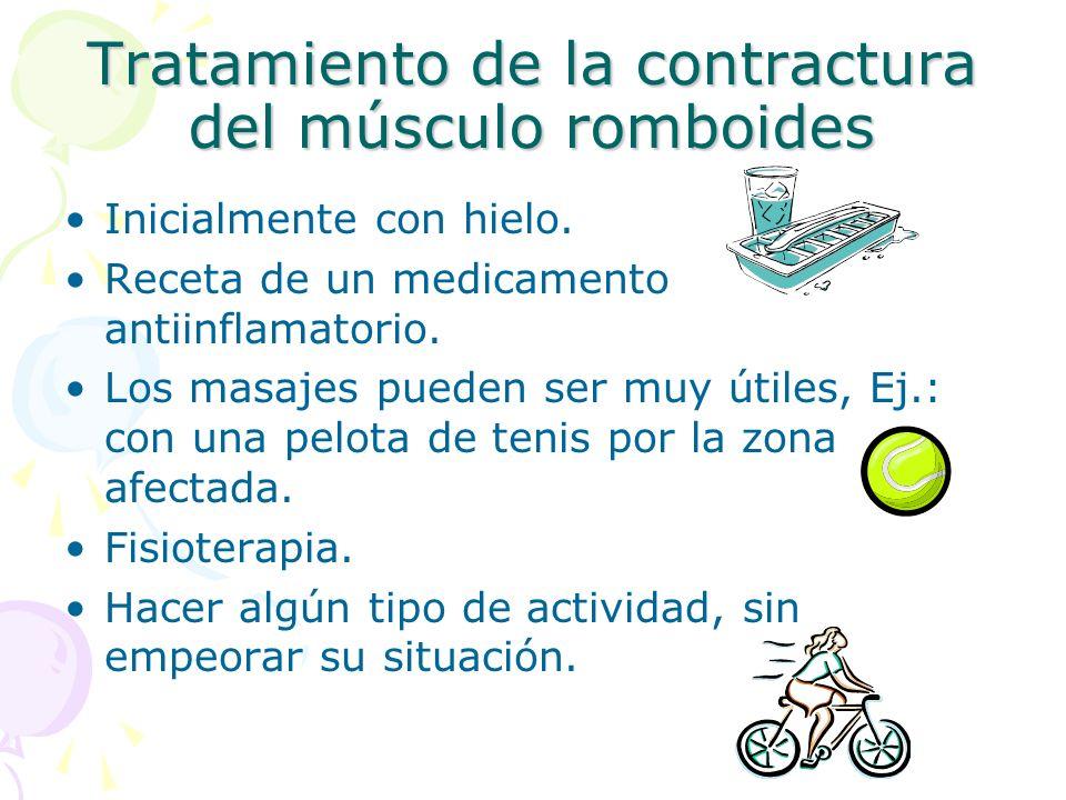 Tratamiento de la contractura del músculo romboides Inicialmente con hielo. Receta de un medicamento antiinflamatorio. Los masajes pueden ser muy útil