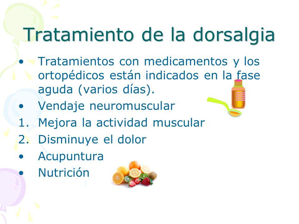 Tratamiento de la dorsalgia Tratamientos con medicamentos y los ortopédicos están indicados en la fase aguda (varios días). Vendaje neuromuscular 1.Me