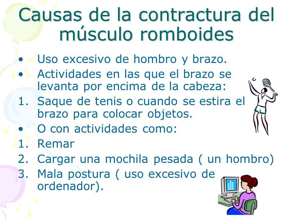 Causas de la contractura del músculo romboides Uso excesivo de hombro y brazo. Actividades en las que el brazo se levanta por encima de la cabeza: 1.S