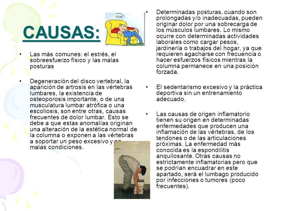 CAUSAS: Las más comunes: el estrés, el sobreesfuerzo físico y las malas posturas Degeneración del disco vertebral, la aparición de artrosis en las vér