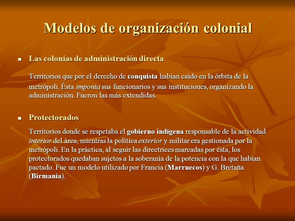 Modelos de organización colonial Las colonias de administración directa Las colonias de administración directa Territorios que por el derecho de conqu