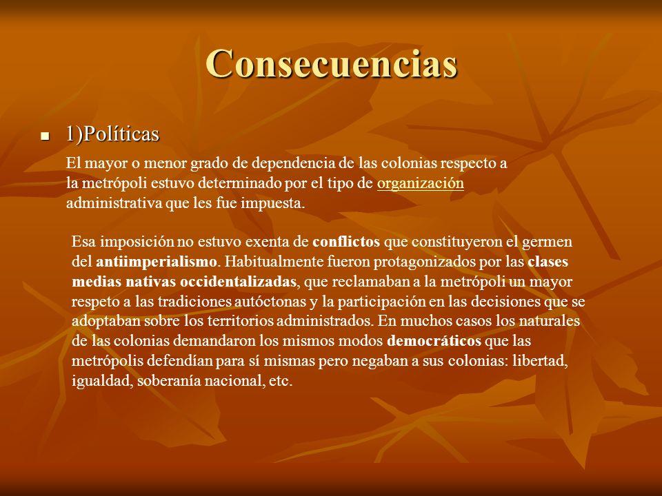 Consecuencias 1)Políticas 1)Políticas El mayor o menor grado de dependencia de las colonias respecto a la metrópoli estuvo determinado por el tipo de