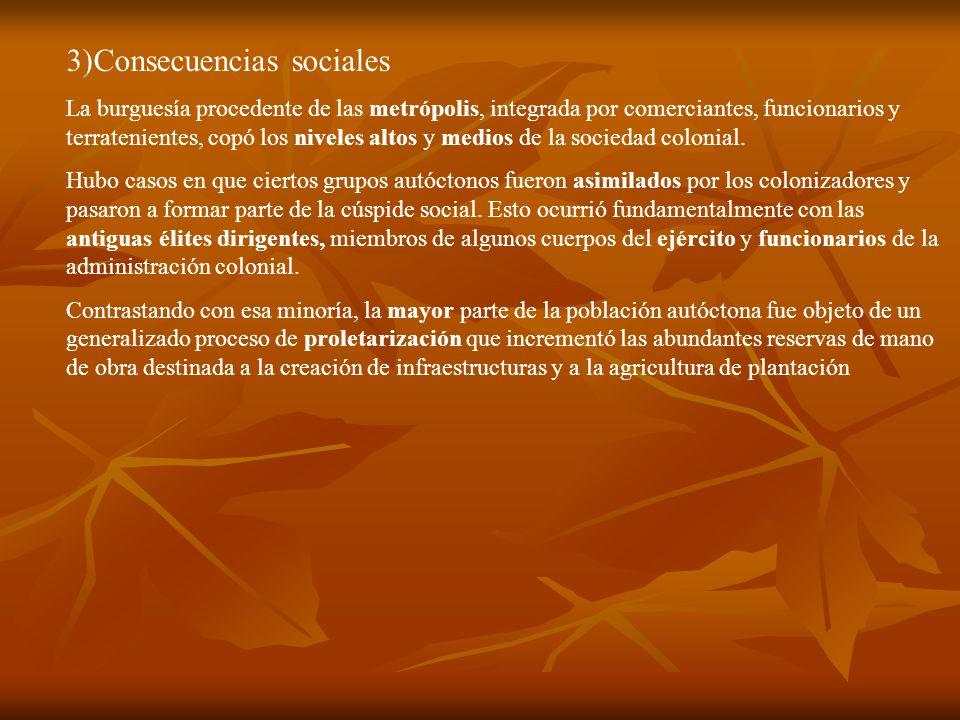 3)Consecuencias sociales La burguesía procedente de las metrópolis, integrada por comerciantes, funcionarios y terratenientes, copó los niveles altos