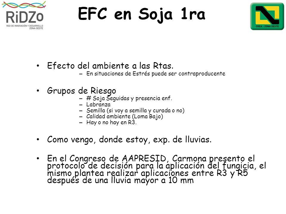 EFC en Soja 1ra Efecto del ambiente a las Rtas. – En situaciones de Estrés puede ser contraproducente Grupos de Riesgo – # Soja Seguidas y presencia e