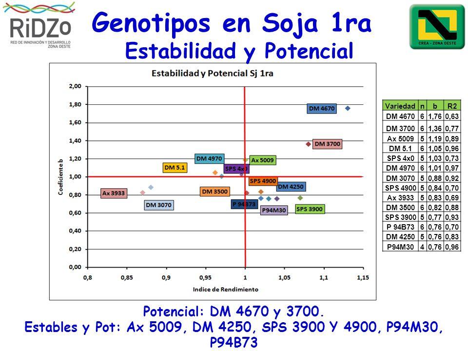 Genotipos en Soja 1ra Potencial: DM 4670 y 3700. Estables y Pot: Ax 5009, DM 4250, SPS 3900 Y 4900, P94M30, P94B73 VariedadnbR2 DM 467061,760,63 DM 37