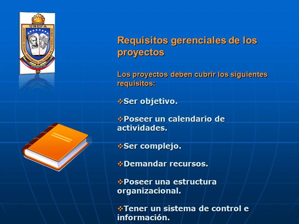 Requisitos gerenciales de los proyectos Los proyectos deben cubrir los siguientes requisitos: Ser objetivo. Ser objetivo. Poseer un calendario de acti