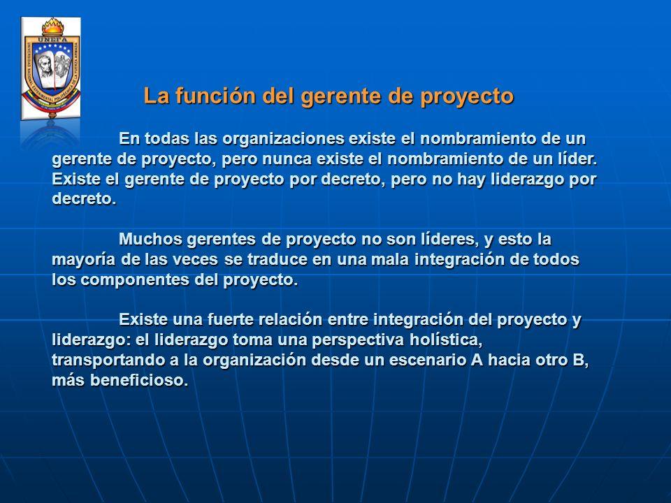 La función del gerente de proyecto La función del gerente de proyecto En todas las organizaciones existe el nombramiento de un gerente de proyecto, pe